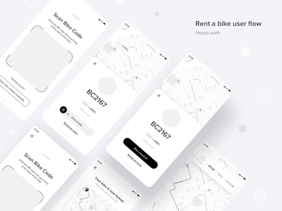 Rent a Bike - User Flow user interface bike app mobility commute costa rica ux ui user experience wireframes wires flow user