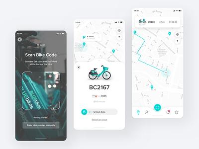 Rent a bike UI costa rica map path unlock code qr scan product design bicycle bike app ux ui mobility