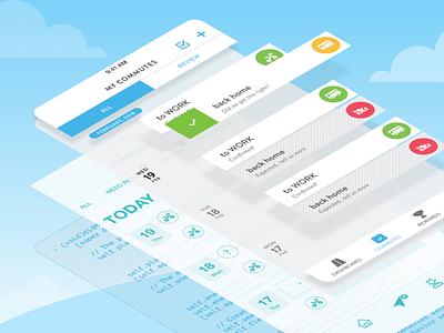 Ride Amigos App Layered commute mobility mobile ux design ui ux ride amigos