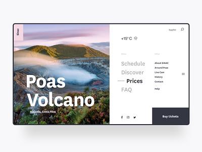 SINAC Website menu ux ui volcano nature website
