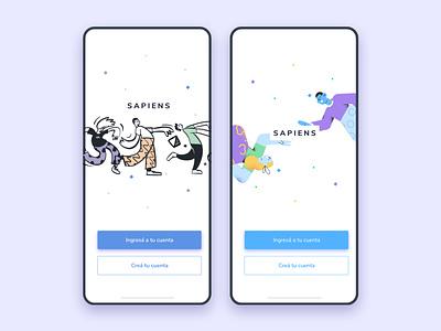 Sapiens design product ui ux screen splash signup login illustration doodles