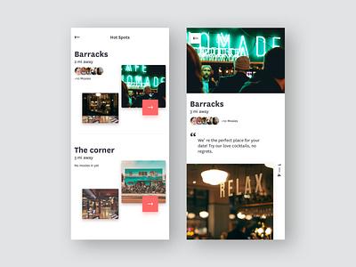 Hot Spots product screen ui ux hot date app dating