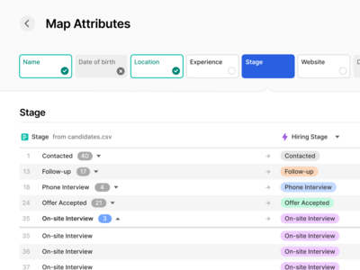 Mapping Attributes web app saas interface tool table database workspace map columns data mapping csv upload file import export crm software ui ux