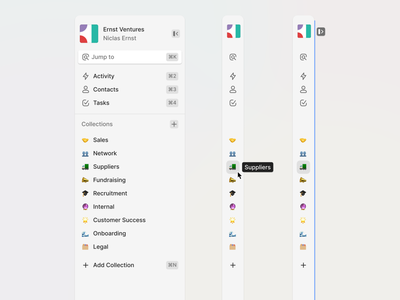 Collapsing Sidebar web app ux user interface ui collections relationships crm navigation menu interaction hover expandable sidebar expanded collapsed desktop design concept app