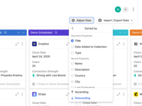 Adjust View ux ui popover back button page push configure export import crm collections kanban board view adjustment sorting settings