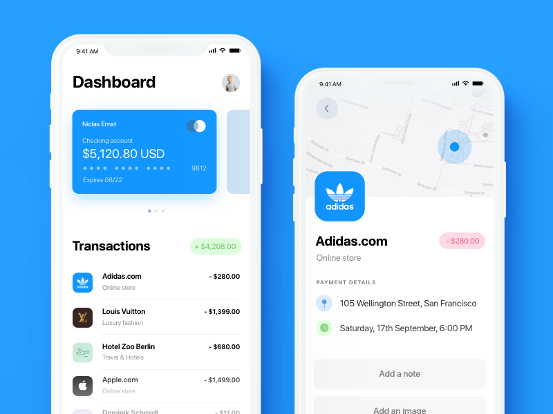 iPhone X Finance App app banking payment map card credit transactions dashboard finance ux user interface iphone x