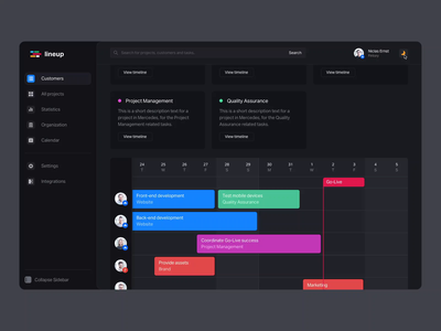 Timeline & Management Tool - Dark Mode Interaction switch dark light mode team software video mov mp4 schedule planning popup interaction dark mode roadmap timeline okr motion design ui ux