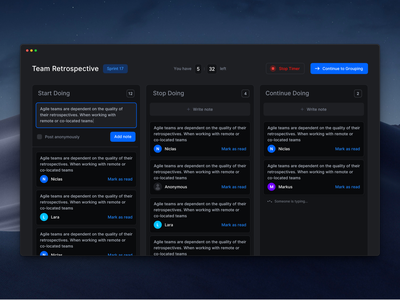 Team Retrospective Dark Mode uiux clean minimal software design software scrum macos mac app dark mode interface design team distributed teams retrospective retro engineering agile