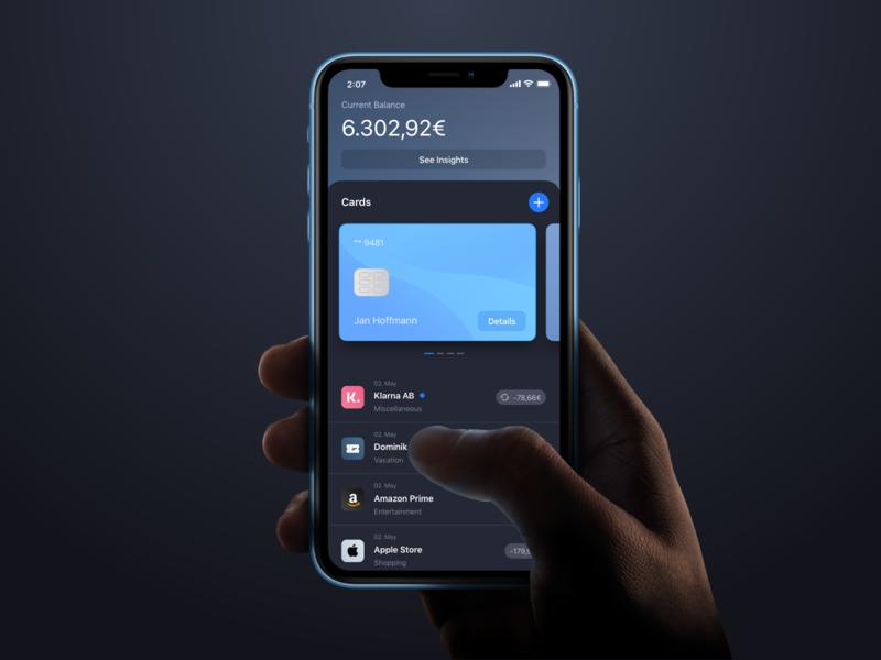 Dark Mode Banking App dark mode ui uiux ux dark bank finance iphone hand cards credit card bank balance fintech app ios swiftui ios13