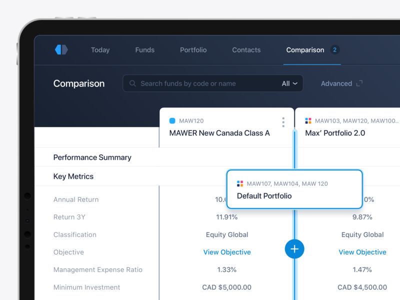 Compare and Manage Funds & Portfolios platform interface ux ui comparison compare data metrics portfolio fund management funds fintech finance