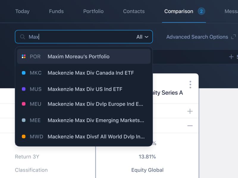 Search funds fintech finance fund management compare comparison web dark ui interface ui ux advanced search search