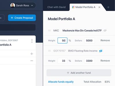 Adjust Portfolio Allocation financial advisor allocation tabs settings adjust comparison fund management finance web app software management fund portfolio ui ux split view