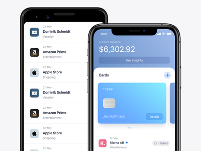Mobile Banking App ios13 fintech finance cards list items transaction list balance transactions ux ui credit card banking app native android ios banking mobile