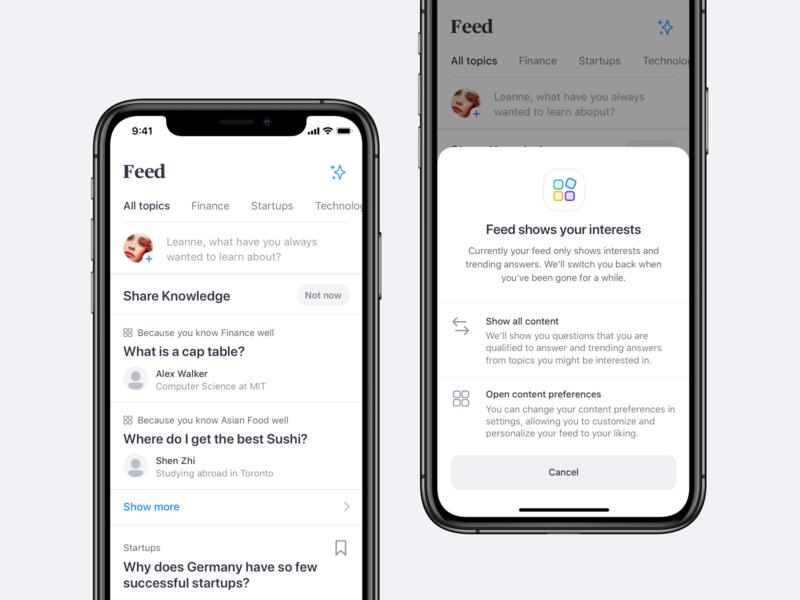 Social Feed icons popover modal ux ui settings preferences ios app social entwork social media feed