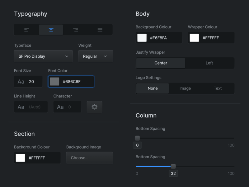 Dark Input Fields font segments slider colours settings typography box inputs dark mode ui design system input fields