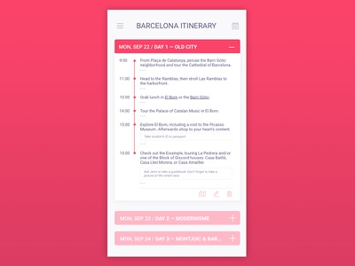 Itinerary / Daily UI #079 ux ui do to tasks schedule mobile events dailyui concept 071 itinerary