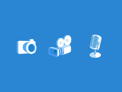 Icon Set sound video music search outline mobile illustration blue icon form 3d financial