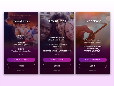 Onboarding Tutorial app events log in sign up account create tutorials onboarding ui design ux