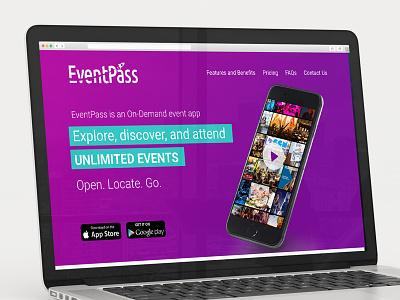 Eventpass Landing Page ap events log in sign up account web design landing landing page tutorials onboarding ui ux