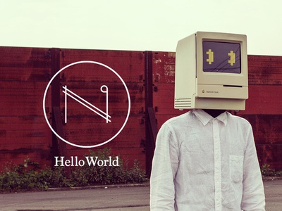 Hello World debut photo macintosh mac vj helmet