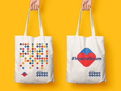 Birmingham Smithfield Tote Bags grid heart smithfield birmingham textile print clean symbol bags tote