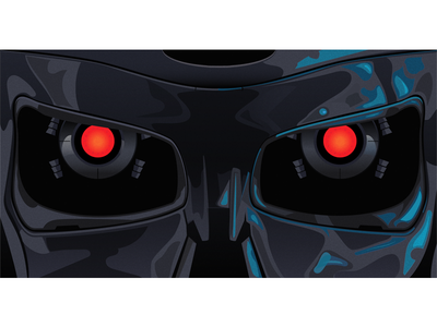 Terminator T-800 skull head skeleton sci-fi vector illustration robot terminator