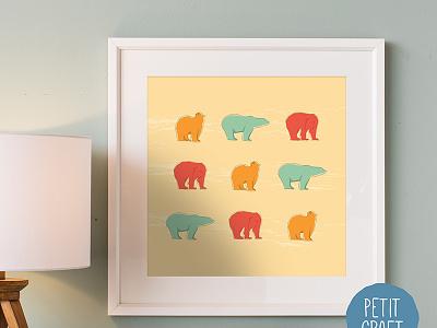 Polar Bears arctic cold yellow teal orange animal wall art nursery wild bear polar