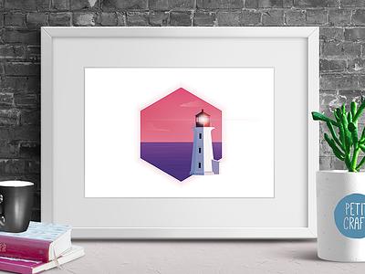 Lighthouse vector affinity illustration purple wall art minimal lighthouse