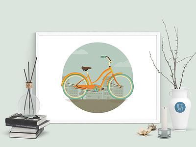 Enjoy The Ride teal orange ride urban city flat minimal illustration vector bicycle