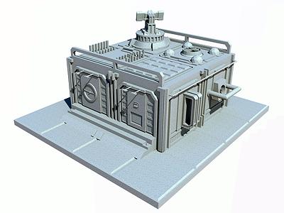 SciFi Hangar / Depot sci-fi hangar building 3d isometric render sketchup game prop
