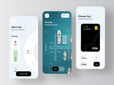 Yacht Booking Service Application - Parking rondesign parking character boat yachting yachts yacht catering marine vessels vessel sailing sail rental app renting rent booking book product design mobile