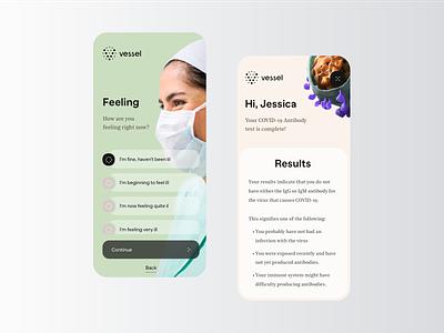 Vessel - COVID-19 App Test rondesign product design mobile patients patient app patient medicine medical medecine health health care health app healthcare testing test