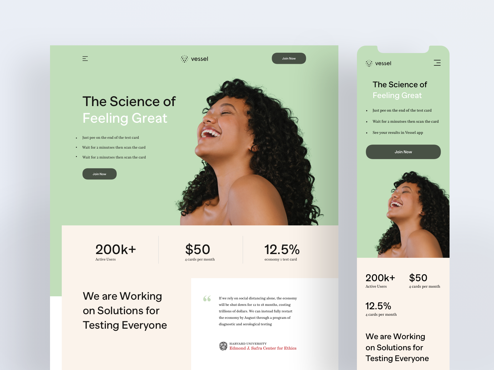 Vessel - Website Landing Page Design