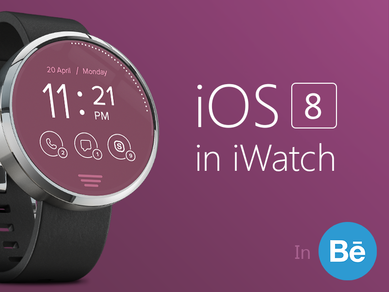 Messenger Concept iOS8 in iWatch fitness health watch messenger ios ios8 iwatch ui ux