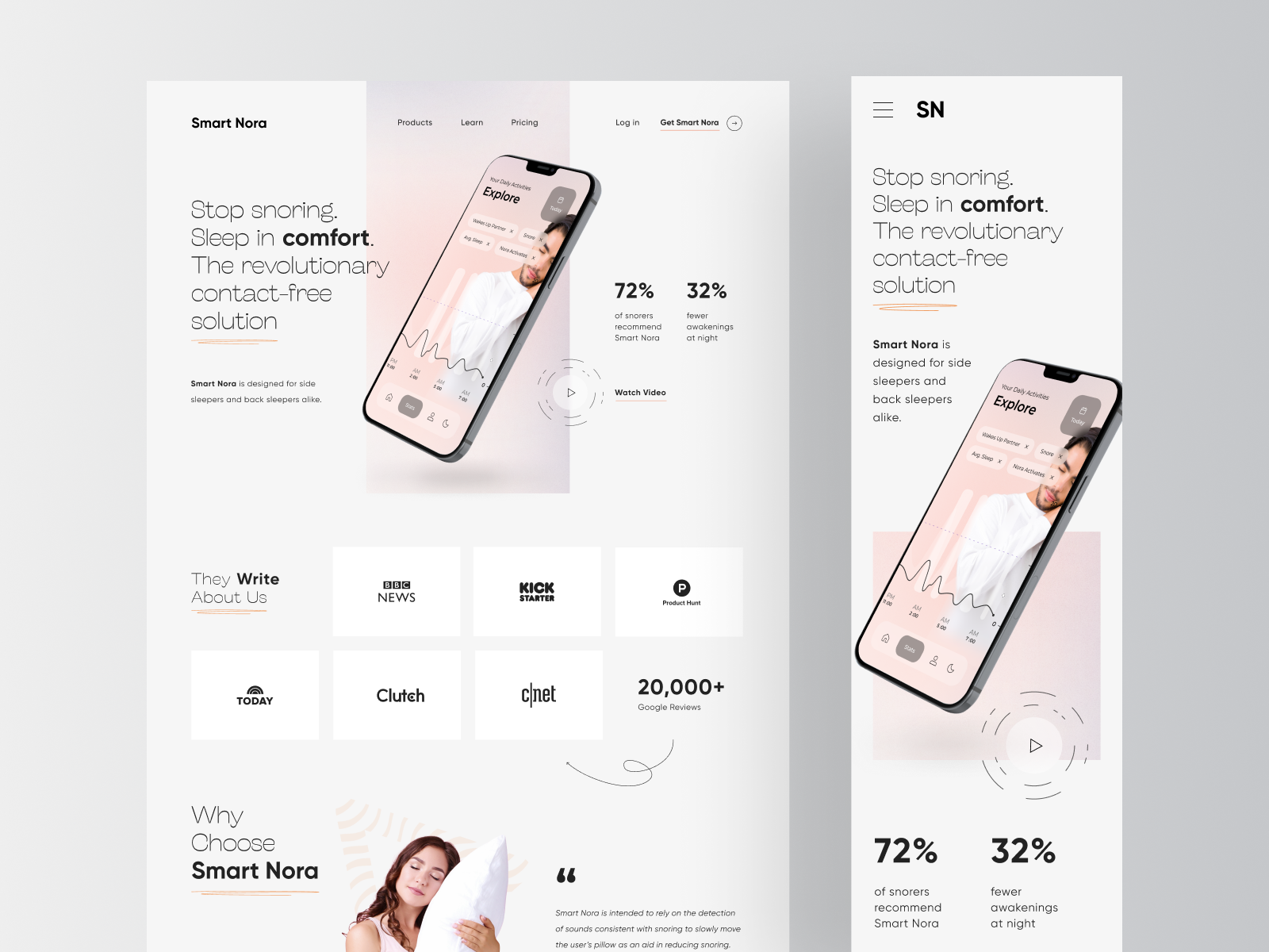 Smart Nora - Website Landing Page Design Full