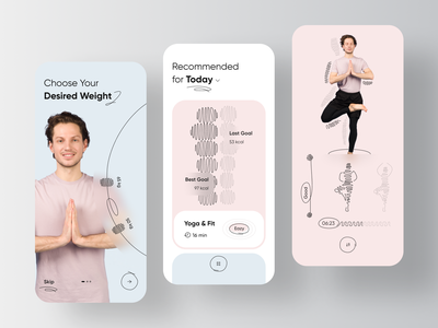 Yoga & Workout Personal Trainer App wellness health care health app healthcare healthy health sport phr emr ehr product design mobile app workout fitness trainer coach