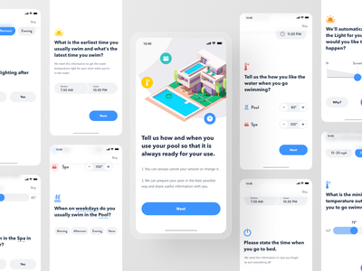 Smart Pool App - First Meet Interview control remote thermostat home automation iot smarthome app product design mobile interview onboarding swimmnig spa pool home house smart