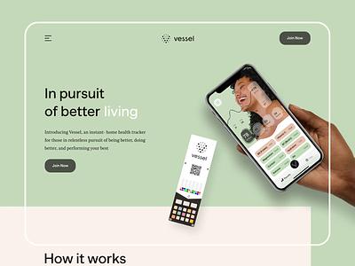 Vessel - Website Hero Scroll Animation health app app suplement additive healthy animation website medicine medecime supplements healthcare care health