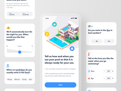 Smart Pool App - First Meet Interview Blocks save house smart swimming onboarding spa pool interview mobile product design app smarthome iot automation home thermostat control remote