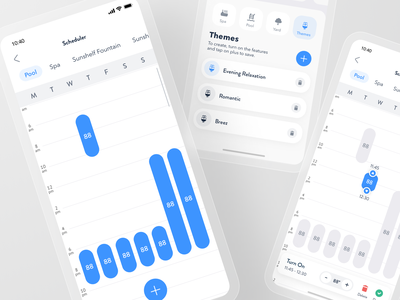 Smart Pool App - Schedule Flow control thermostat automation iot smarthome product design interview remote home house smart spa pool schedule save mobile app