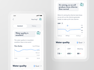 Smart Pool App - Water Quality App Screens quality water save mobile product design iot house home automation thermostat spa control remote pool smart app
