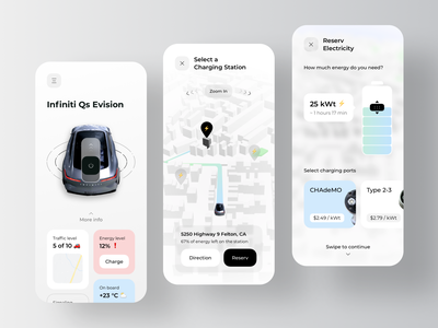 Mobile App for Finding Electric Car Charging Stations rondesign ather tesla vechile charger ev car electric station charging route parking mobile app