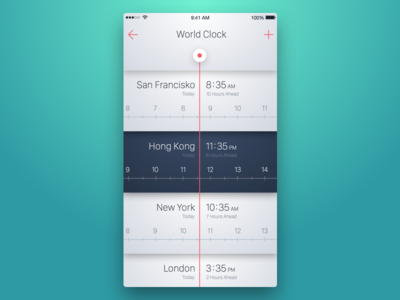 6th Week (Friday) - World Clock themeforest free sketch global time zone timezone time mobile app watch clock zone
