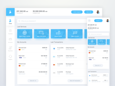 Online Banking Dashboard accounting budget expenses finance fintech money rondesign spending stats transactions transaction card pay payment bills wallet california bank