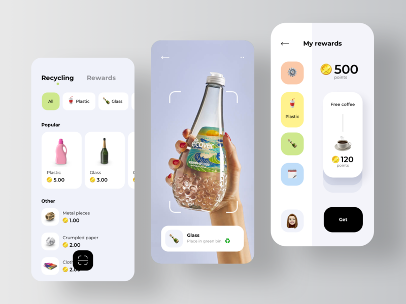 Recycling App for Garbage Sorting 🗑 ecology eco scanning scanner scan trash recycled paper recycling recycled recycle garbage sort sorting rondesign
