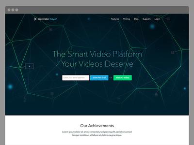 Optimize Player tech futuristic landing movie player video