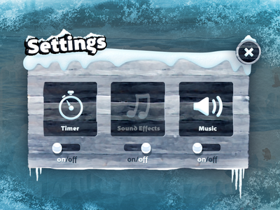 Ice setting pop up for Mindlab Tablet Game App :) mindlab settings pop up inkod gui sound volume switch on off close ice cold