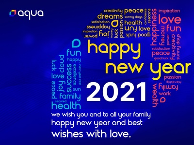 Happy New Year 2021 with Aqua Security <3 holidays luck logo love family cyber security cyber joy cloud security cloud aqua security postcard peace health happiness 2021 happy holidays wishes happy new year happy