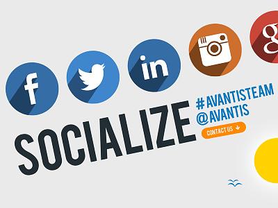 Follow AVANTIS :) Social Networks Big Time! linkedin google facebook tweeter instagram community socialize avantis team networks social