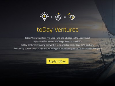 toDay.ventures New Website :) 'cause toMorrow is too late ... incubator accelerator success team yacht website b2b entrepreneurs startups ventures today